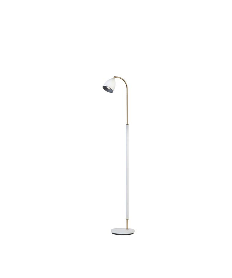 Deluxe Gulvlampe Hvid/Messing LED - Belid