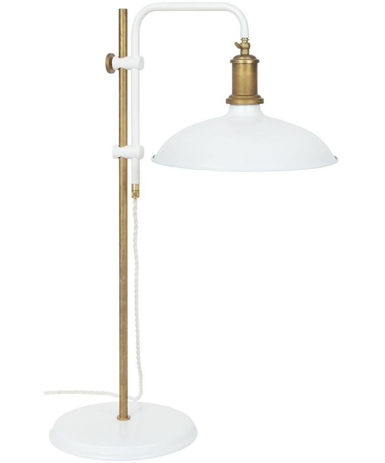 Kavaljer Bordlampe Mat Hvid/Rå Messing - KonstHantverk