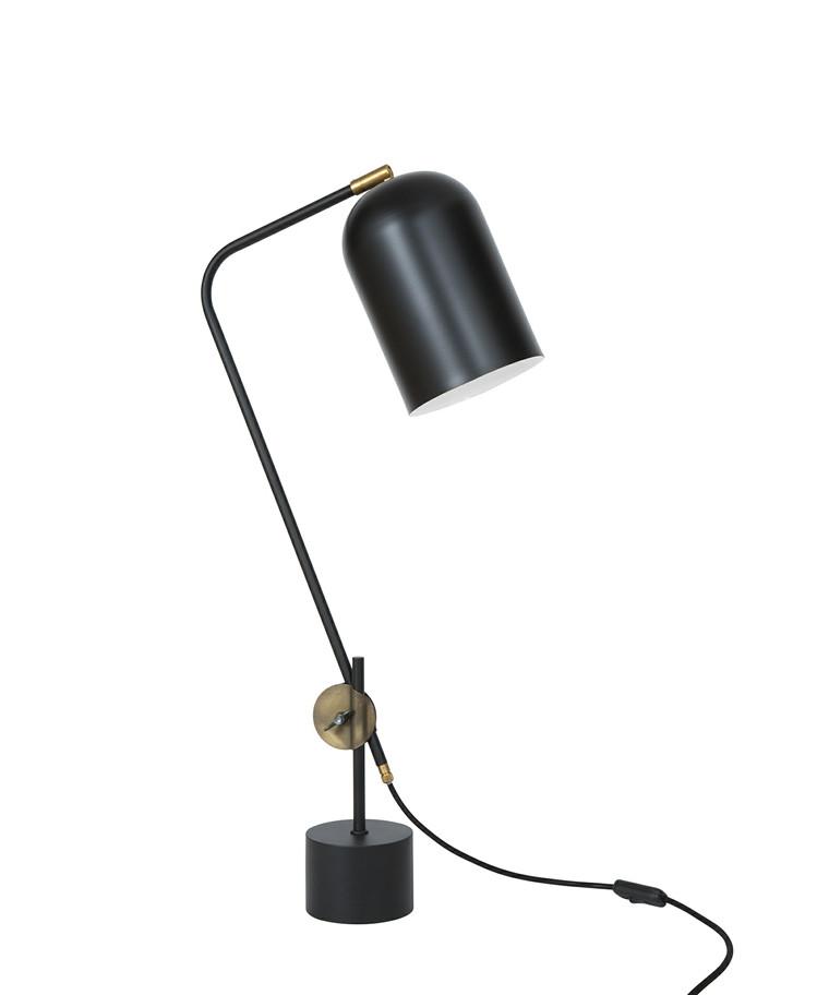 Knekt Mat Sort/Rå Messing Bordlampe - KonstHantverk