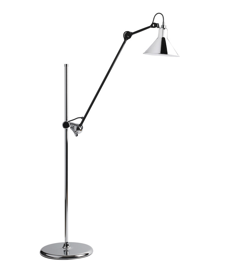 215 Gulvlampe Krom/Sort - Lampe Gras