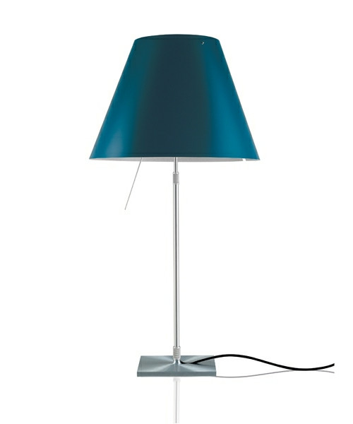 Costanza Bordlampe m/Dimmer Alu/Petroleum Blue - Luceplan