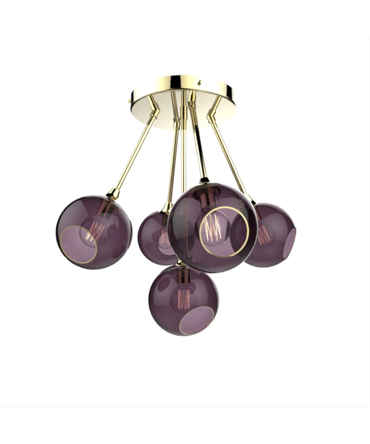 Ballroom Molecule Pendel Brass/Purple - Design By Us