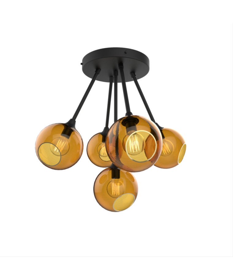 Ballroom Molecule Pendel Black/Amber - Design By Us