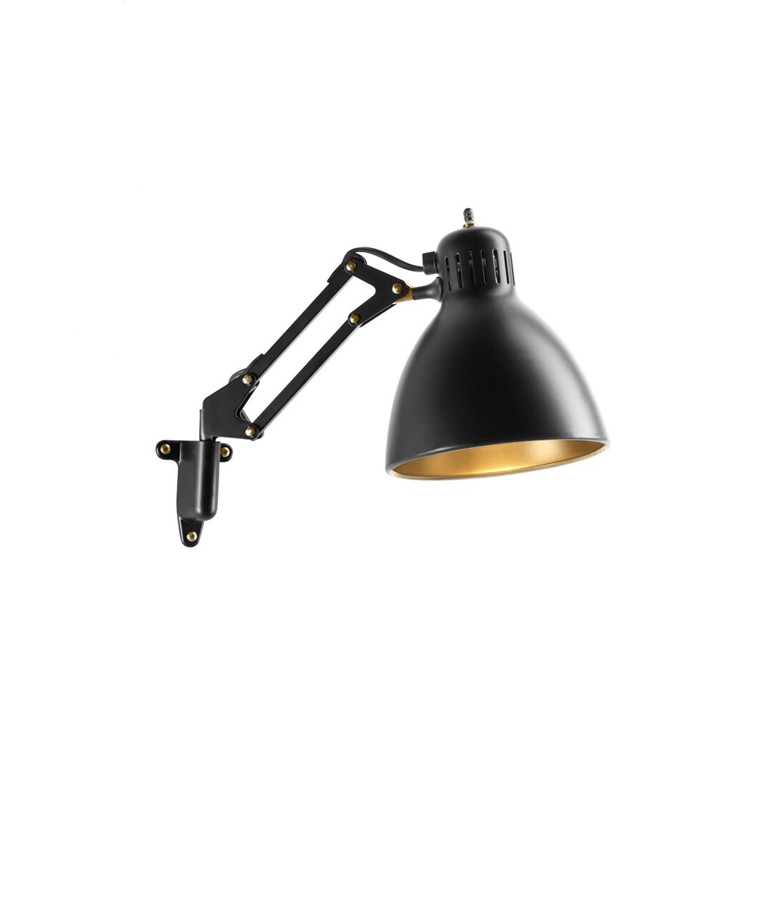 Archi W1 Væglampe Sort/Guld - LIGHT-POINT