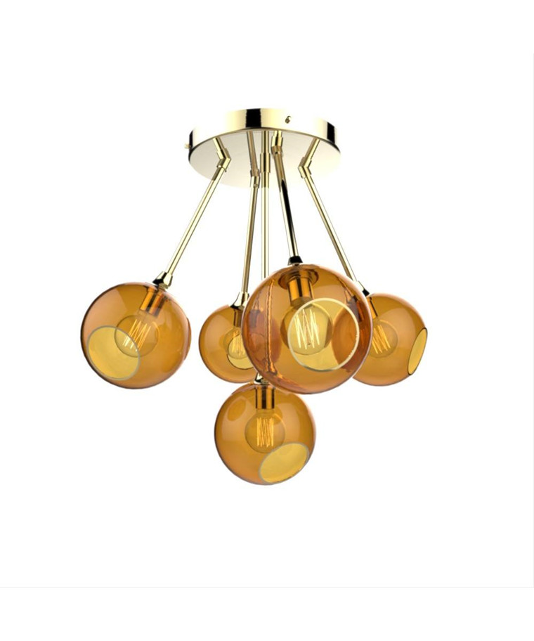 Ballroom Molecule Pendel Brass/Amber - Design By Us