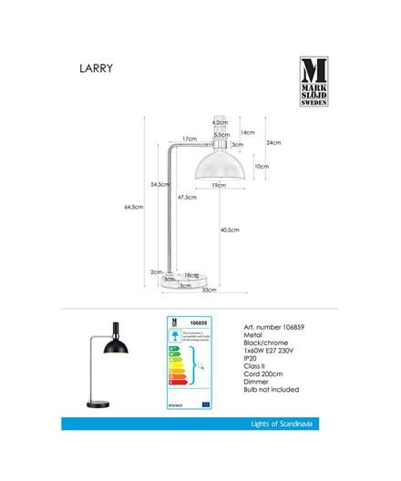 Larry Bordlampe Sort/Chrome - Markslöjd