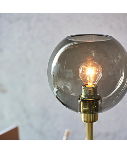 Gloria Bordlampe Messing/Røgfarvet Glas - Belid