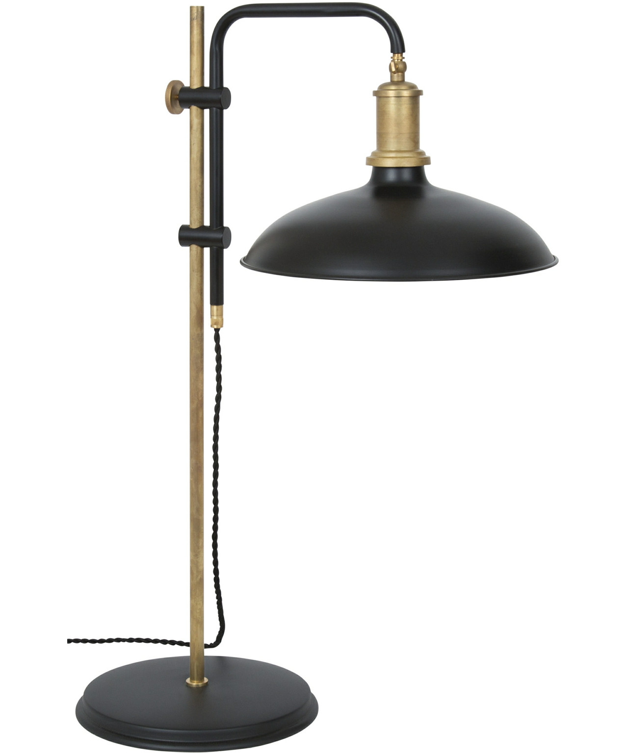 Image of   Kavaljer Bordlampe Mat Sort/Rå Messing - KonstHantverk