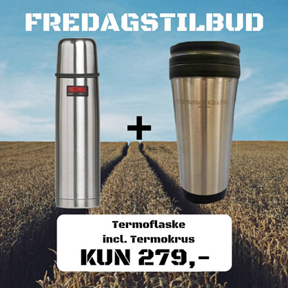 Thermos 0,75L Termoflaske - INCL. Nystrøm&Krabbe Termokrus