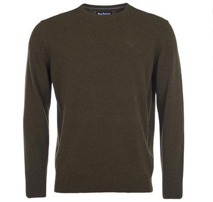 Barbour Essential Striksweater rund hals - Mørkegrøn