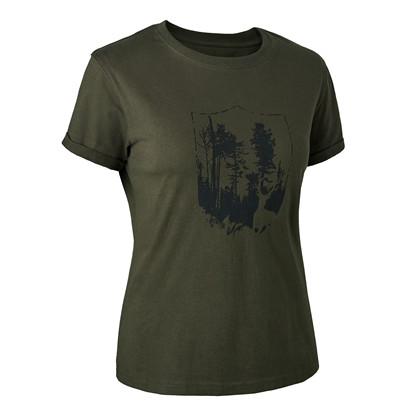 Deerhunter Dame T-Shirt med Skjold -Bark Green