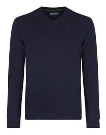 Barbour Essential Striksweater V-hals - Mørkeblå