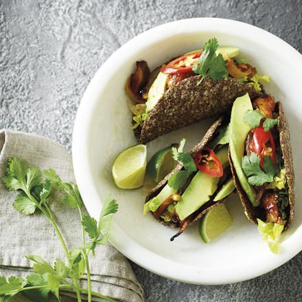 Hørfrø-tacos med pulled svampe