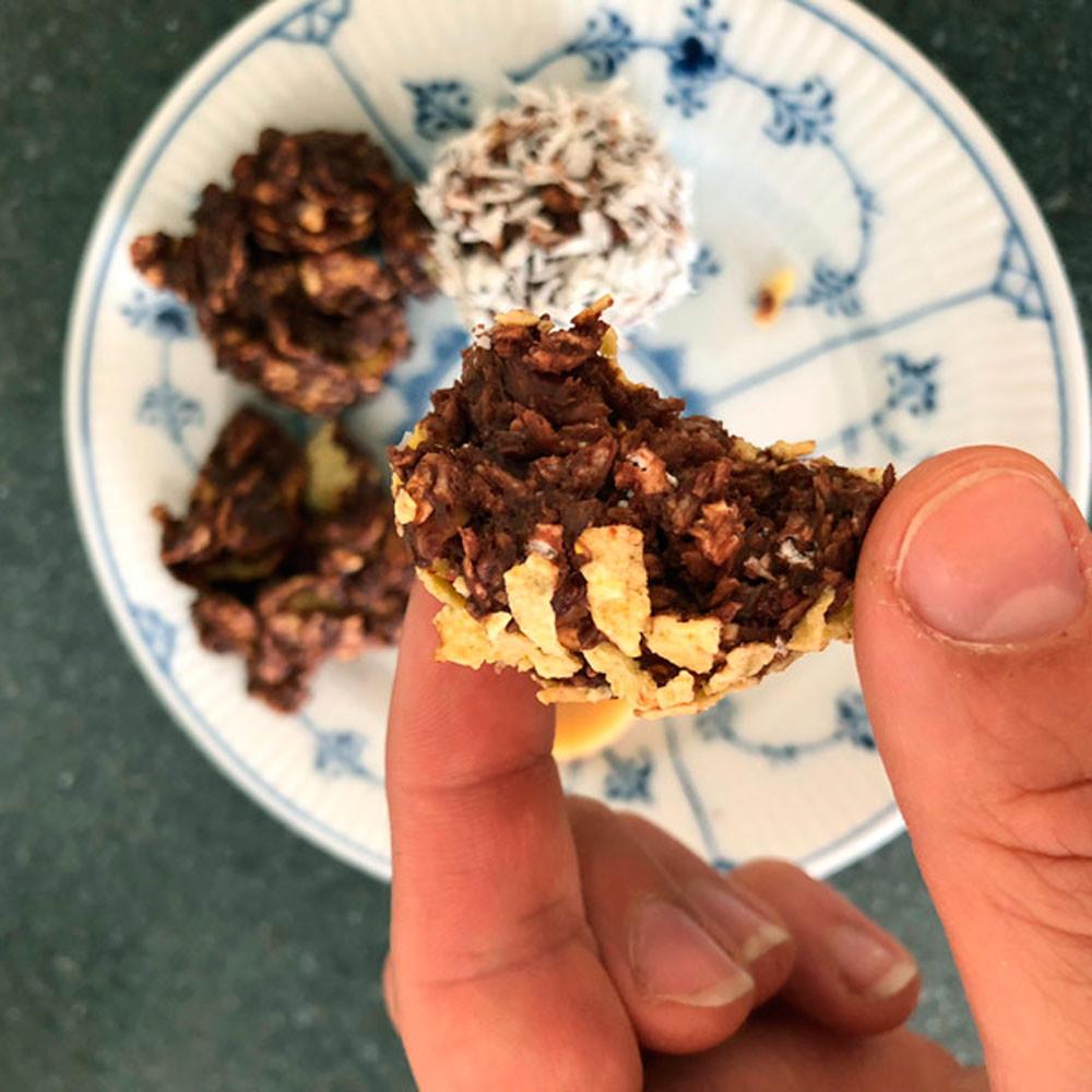 Havregrynskugler m. belgisk chokolade