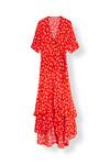 Ganni Silvery Crepe Wrap kjole i rød