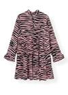 Ganni F2904 Printed Crepe kjole i lyserød/sort