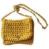 Brink by Brink hæklet taske i gul med sølv hardware