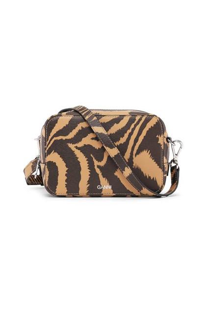 Ganni A2160 Læder taske i mønstret brun