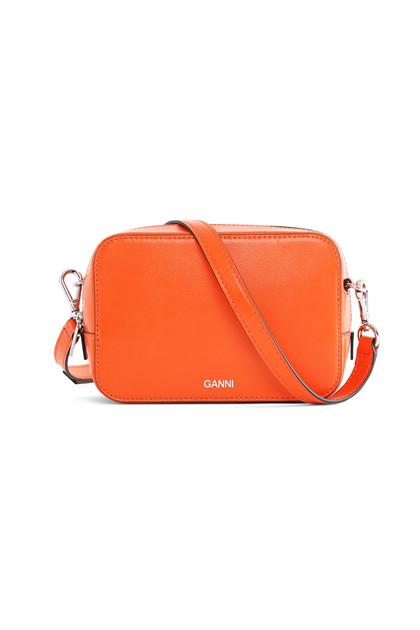 Ganni A2169 Texture leather taske i orange