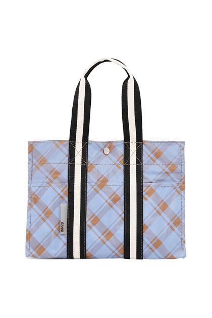 Ganni A2314 Check Printed taske i blå tern