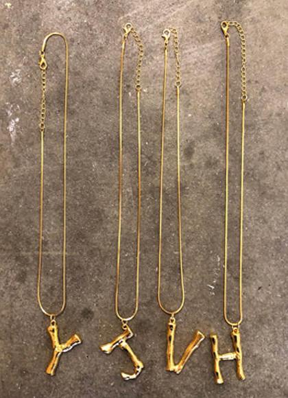 Bamboo Letters Bogstavs Halskæder  i guld