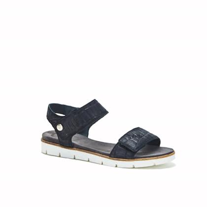Cashott Black Croco sandal i sort