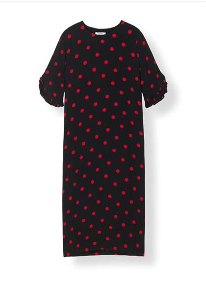 Ganni F2650 Bara Crepe kjole I sort