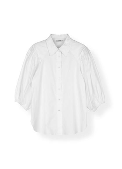 Ganni F3017 Plain Cotton Poplin Skjorte i hvid