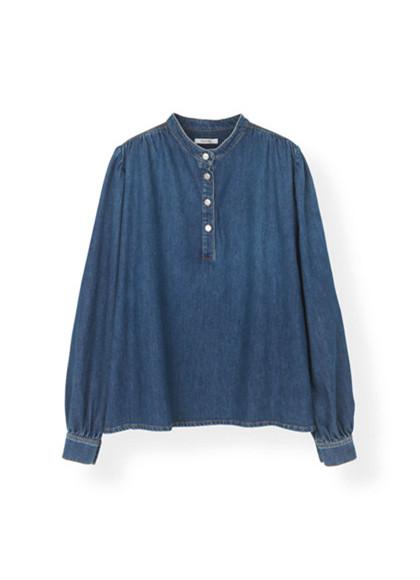 Ganni F3155 Trinity Soft Denim skjorte i mørke blå