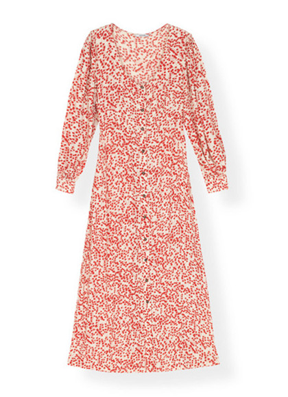 Ganni Goldstone Crepe F3189 kjole i Egret