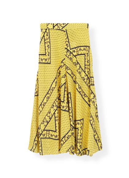 Ganni Hemlock Silk F3382 nederdel i gul