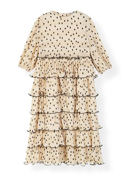 Ganni Lowell F3169 kjole i beige
