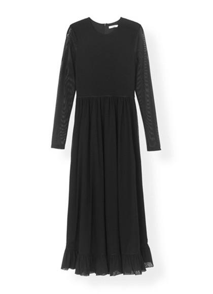Ganni T2174 Dot Mesh kjole i sort