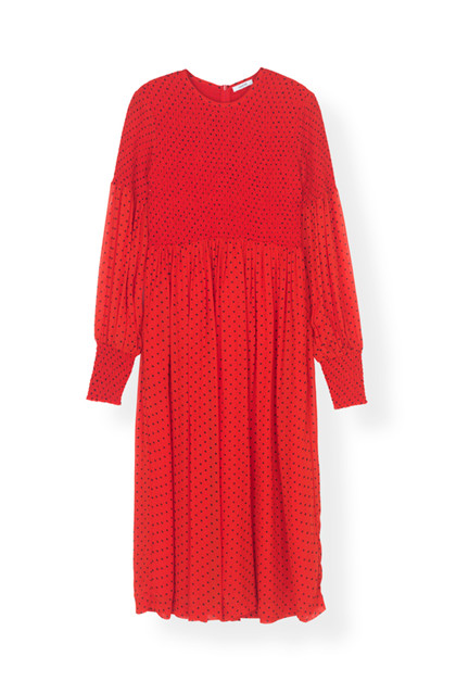 Ganni F3049 Mulin Georgette kjole i rød