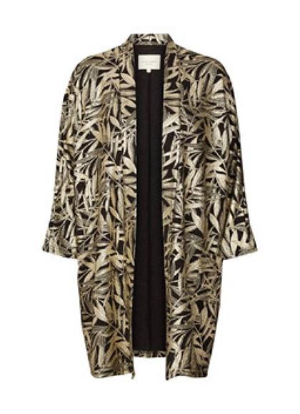 Lollys Laundry Kimmi kimono i sort og guld