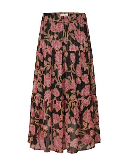 Lollys Laundry Bonny nederdel i sort m. pink blomster