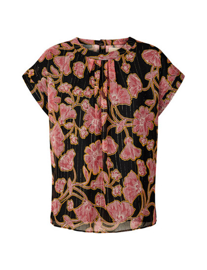 Lollys Laundry Deva top i sort m. pink blomster