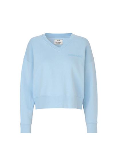Mads Nørgaard Tilvina V Logo sweatshirt i lys blå