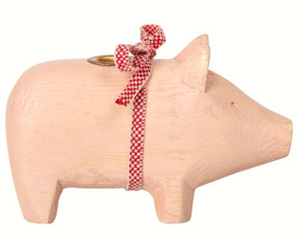 Maileg Wooden Pig Lille træ gris i lyserød