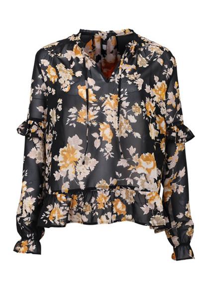 Neo Noir Layla Flower bluse i sort