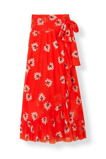 Ganni Tilden Mesh nederdel i rød m. blomster