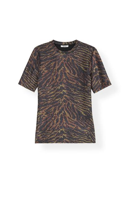 Ganni T2380 Lurex Jersey T-shirt i mønstret
