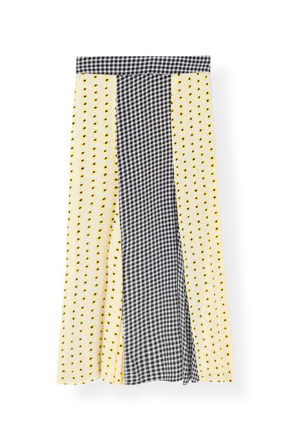 Ganni F3385 Printed Crepe nederdel i mønstret