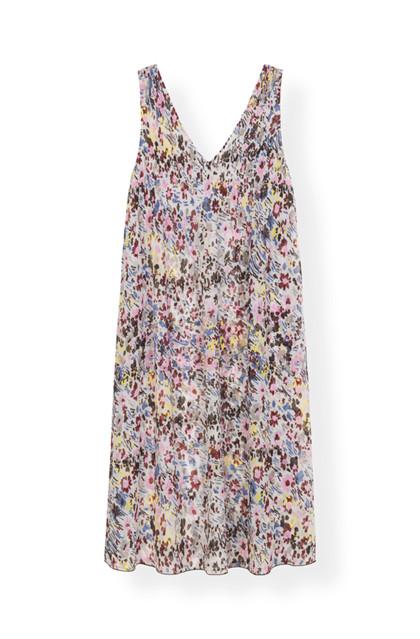 Ganni F3403 Printed Georgette kjole i mønstret