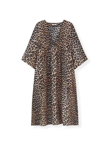 Ganni F3638 Cotton Silk kjole i leo