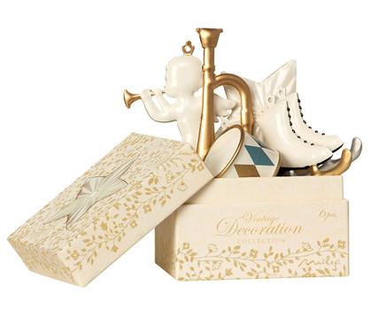 Maileg Ornaments in box pynt til træet i hvid og guld