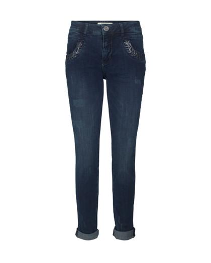 Mos Mosh Naomi Leaves jeans i mørk denim