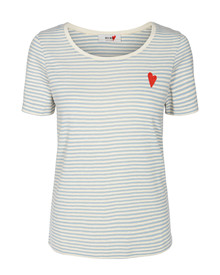 Mos Mosh Kenia Glam Stripe T-shirt i blå
