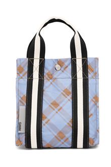 Ganni A2315 lille Check Printed taske i blå tern