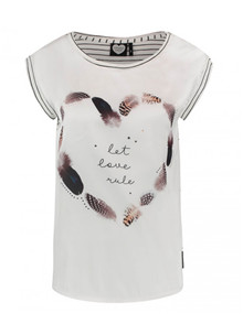 Catwalk Junkie TS Feather Heart T-shirt i off white